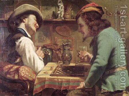 The Game of Draughts, 1844 by Gustave Courbet - Reproduction Oil Painting