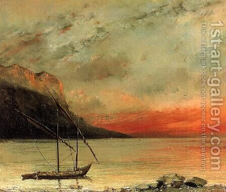 Sunset over Lake Leman, 1874 by Gustave Courbet - Reproduction Oil Painting