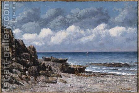 Boats at St. Aubain by Gustave Courbet - Reproduction Oil Painting