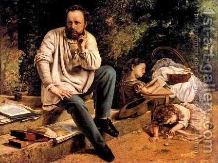 Pierre Joseph Proudhon (1809-65) and his children in 1853, 1865 by Gustave Courbet - Reproduction Oil Painting
