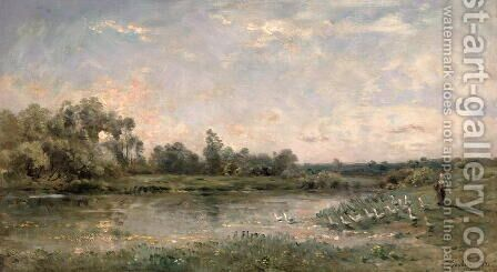 Along the River, 1874 by Charles-Francois Daubigny - Reproduction Oil Painting