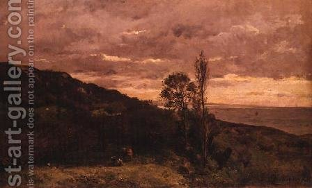 Landscape Near Villerville by Charles-Francois Daubigny - Reproduction Oil Painting