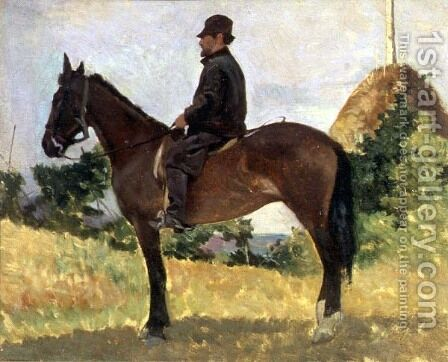 Diego Martelli mounted on horseback by Giovanni Fattori - Reproduction Oil Painting