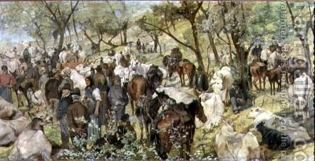 Cattle market in the Maremma by Giovanni Fattori - Reproduction Oil Painting