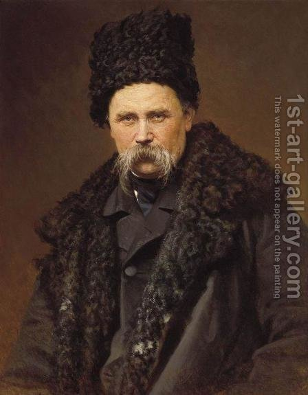 Portrait of the Ukranian Author Taras Grigorievich Shevchenko (1814-61), 1871 by Ivan Nikolaevich Kramskoy - Reproduction Oil Painting