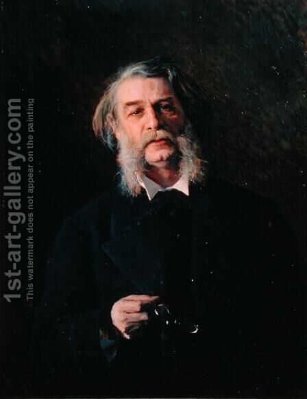 Portrait of Dmitri Vasilievich Grigorovich (1822-99), 1876 by Ivan Nikolaevich Kramskoy - Reproduction Oil Painting