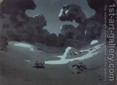 Moonspots in the Forest, Winter 1898-1908 by Arkhip Ivanovich Kuindzhi - Reproduction Oil Painting