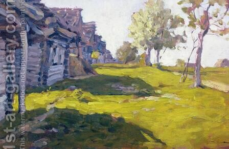 Sunlit Day. A Small Village, 1898 by Isaak Ilyich Levitan - Reproduction Oil Painting