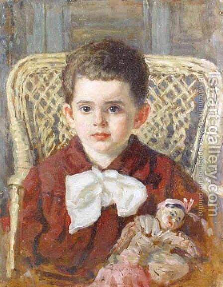 Boy with a Doll, 1922 by Aleksandr Vladimirovich Makovsky - Reproduction Oil Painting