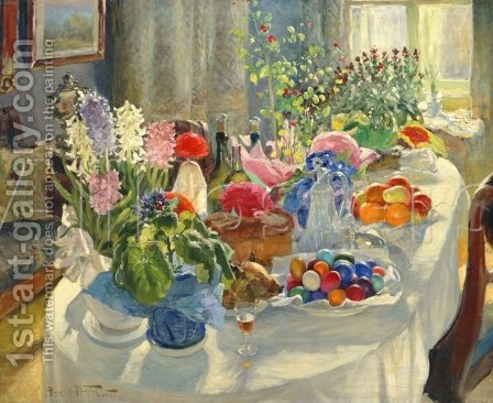 Easter Table by Aleksandr Vladimirovich Makovsky - Reproduction Oil Painting