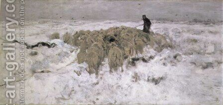 Flock of Sheep in the Snow by Anton Mauve - Reproduction Oil Painting