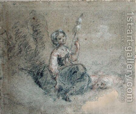 A Young Shepherdess Spinning by Jean-Francois Millet - Reproduction Oil Painting