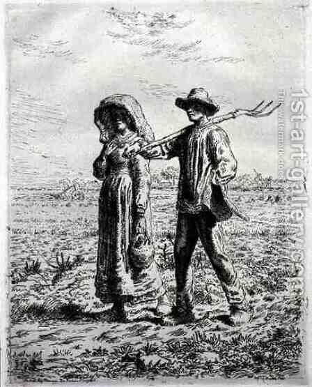 Setting off for Work, 1863 by Jean-Francois Millet - Reproduction Oil Painting