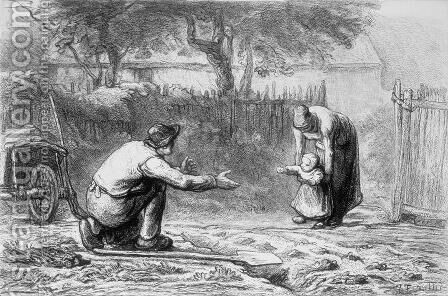The First Steps by Jean-Francois Millet - Reproduction Oil Painting