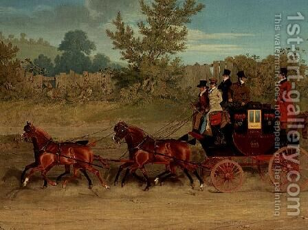 The Exeter Royal Mail on a country road by James Pollard - Reproduction Oil Painting