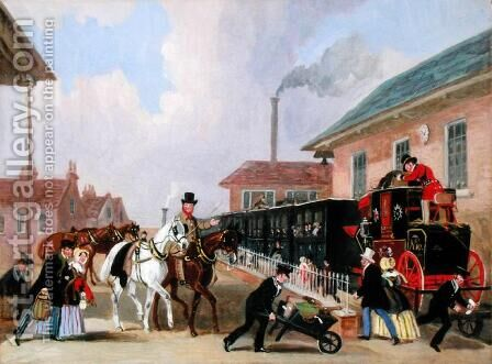 The Louth-London Royal Mail Travelling by Train from Peterborough East in December 1845 by James Pollard - Reproduction Oil Painting