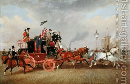 'The Last of the Mail Coaches- The Edinburgh-London Royal Mail at Newcastle-upon-Tyne, 5th July 1847, 1848 by James Pollard - Reproduction Oil Painting