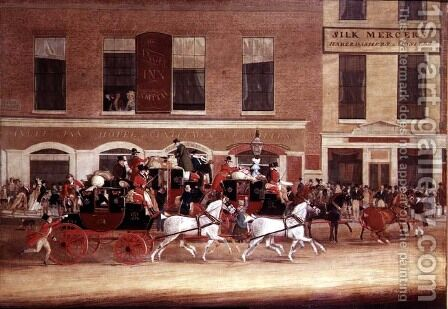 Royal Mail Coaches leaving the Angel Inn, 1827 by James Pollard - Reproduction Oil Painting