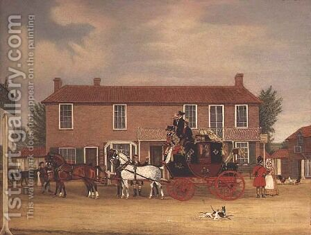 The Norwich Mail at the Coach and Horses, Ilford by James Pollard - Reproduction Oil Painting
