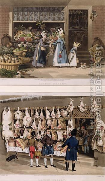 The Meat Stall and the Fruit Stall from the London Markets by James Pollard - Reproduction Oil Painting