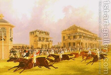 The Dead Heat for the Doncaster Great St. Leger Stakes between 'Charles XII' and 'Euclid', 1839 by James Pollard - Reproduction Oil Painting