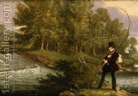 Trout Fishing on the Lea, 1841 by James Pollard - Reproduction Oil Painting