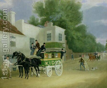 Kidd's Omnibus to Turnham Green at the Angel Inn by James Pollard - Reproduction Oil Painting