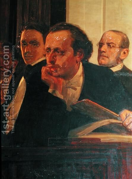 Michal Kleopas Oginski (1765-1833), Frederic Chopin (1810-49) and Stanislaw Moniuszko (1819-72), from Slavonic Composers, 1890s (detail) by Ilya Efimovich Efimovich Repin - Reproduction Oil Painting