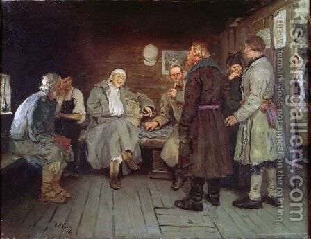 Soldier's Tale, 1877 by Ilya Efimovich Efimovich Repin - Reproduction Oil Painting