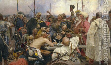 The Zaporozhye Cossacks writing a letter to the Turkish Sultan, 1890-91 by Ilya Efimovich Efimovich Repin - Reproduction Oil Painting