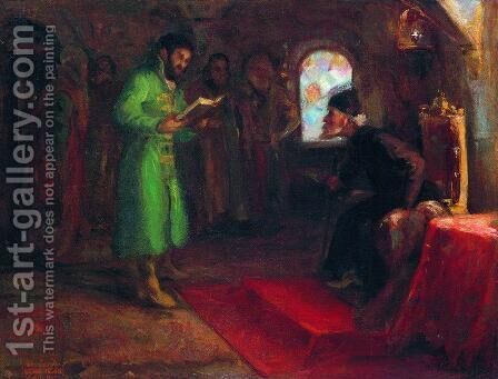 Boris Godunov with Ivan the Terrible by Ilya Efimovich Efimovich Repin - Reproduction Oil Painting