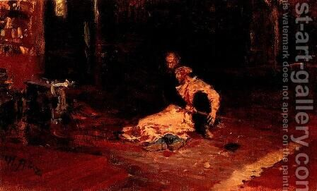 Ivan the Terrible and his son Ivan 1870-1873 (sketch) by Ilya Efimovich Efimovich Repin - Reproduction Oil Painting
