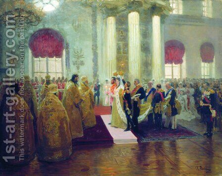 Wedding of Nicholas II and Alexandra Fyodorovna, 1894 by Ilya Efimovich Efimovich Repin - Reproduction Oil Painting