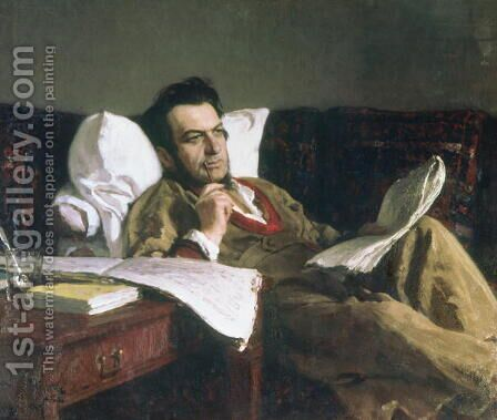 Portrait of Mikhail Glinka at the time of his composition of the opera 'Ruslan and Ludmilla', c.1887 by Ilya Efimovich Efimovich Repin - Reproduction Oil Painting