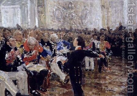 Aleksandr Sergeevich Pushkin (1799-1837) Performing Poetry at the Lyceum on the 8th January 1815, 1910 by Ilya Efimovich Efimovich Repin - Reproduction Oil Painting