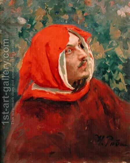 Portrait of Dante Alighieri (1265-1321) by Ilya Efimovich Efimovich Repin - Reproduction Oil Painting
