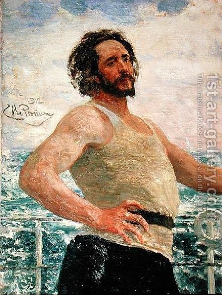 Portrait of Author Leonid Andreev (1871-1919), 1912 by Ilya Efimovich Efimovich Repin - Reproduction Oil Painting