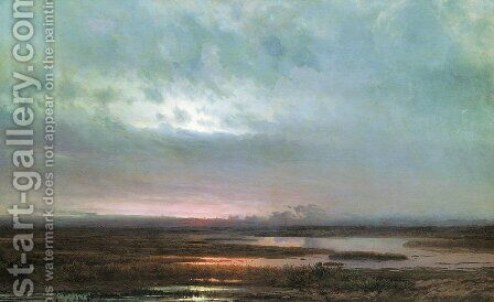 Sundown over a marsh, 1871 by Alexei Kondratyevich Savrasov - Reproduction Oil Painting