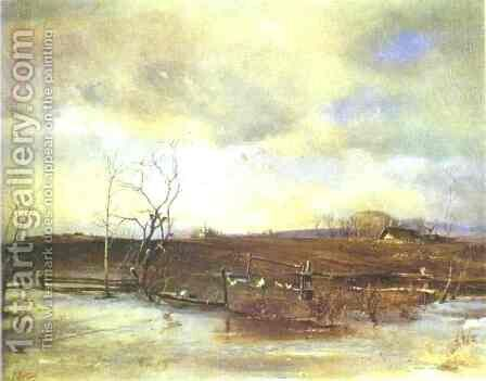 Spring,  Kitchen Gardens (1893) by Alexei Kondratyevich Savrasov - Reproduction Oil Painting
