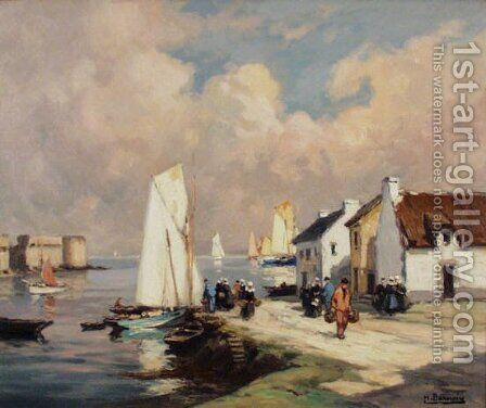 Fishing Harbour by Henri Alphonse Barnoin - Reproduction Oil Painting