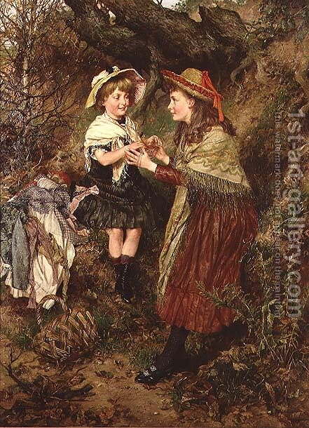 Cats Cradle, 1883 by Edgar Bundy - Reproduction Oil Painting