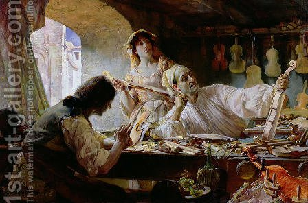 Antonio Stradivari, 1893 by Edgar Bundy - Reproduction Oil Painting