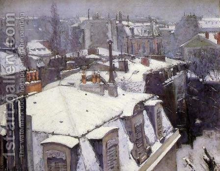Vue toits, effet de neige (1878) by Gustave Caillebotte - Reproduction Oil Painting