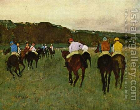 Horseracing in Longchamps, 1873-1875 by Edgar Degas - Reproduction Oil Painting