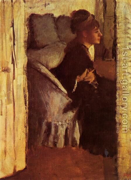 Woman putting on gloves by Edgar Degas - Reproduction Oil Painting