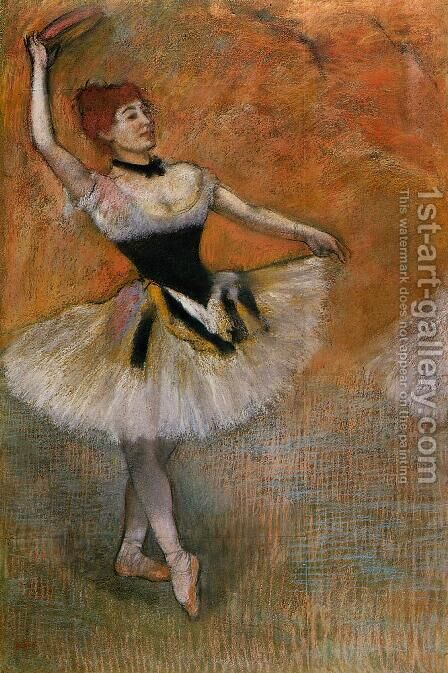 Dancer with a tambourine by Edgar Degas - Reproduction Oil Painting