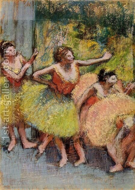 Dancers in Lemon and Pink by Edgar Degas - Reproduction Oil Painting