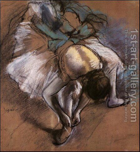 Dancer Fastening her Pump, c.1880-85 by Edgar Degas - Reproduction Oil Painting