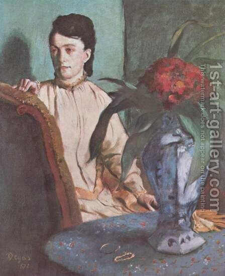 Woman with the Oriental Vase, 1872 by Edgar Degas - Reproduction Oil Painting