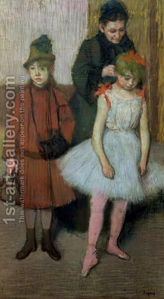 Woman with two little girls by Edgar Degas - Reproduction Oil Painting